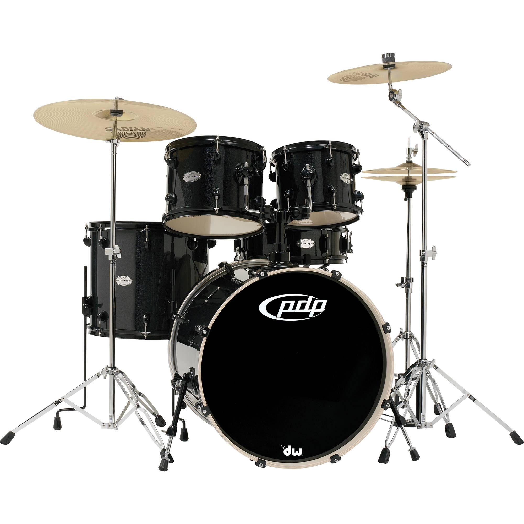 PDP Mainstage 5-Piece Drum Kit w/800 Hardware and Zildjian Cymbals (Black  Metallic)