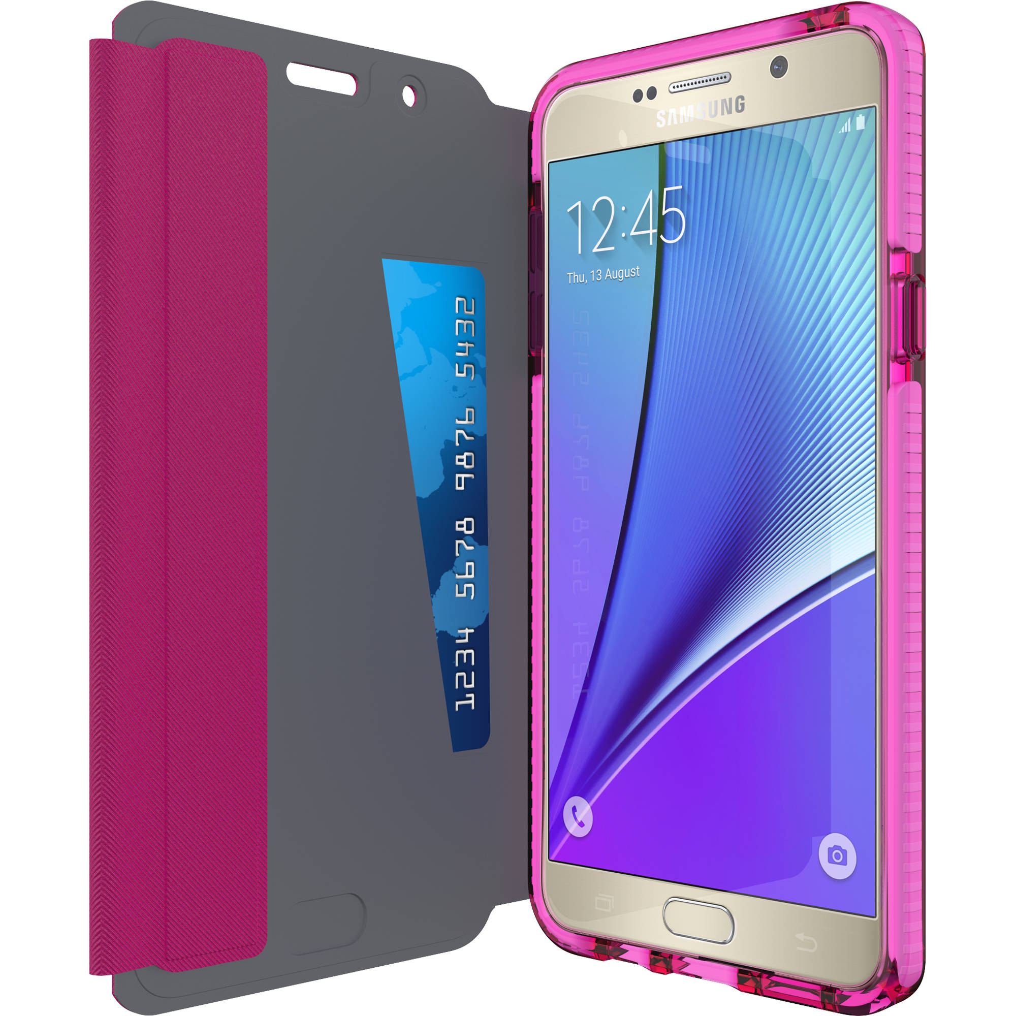 hot sales a26d4 1a0bd Tech21 Evo Wallet Case for Galaxy Note 5 (Pink)