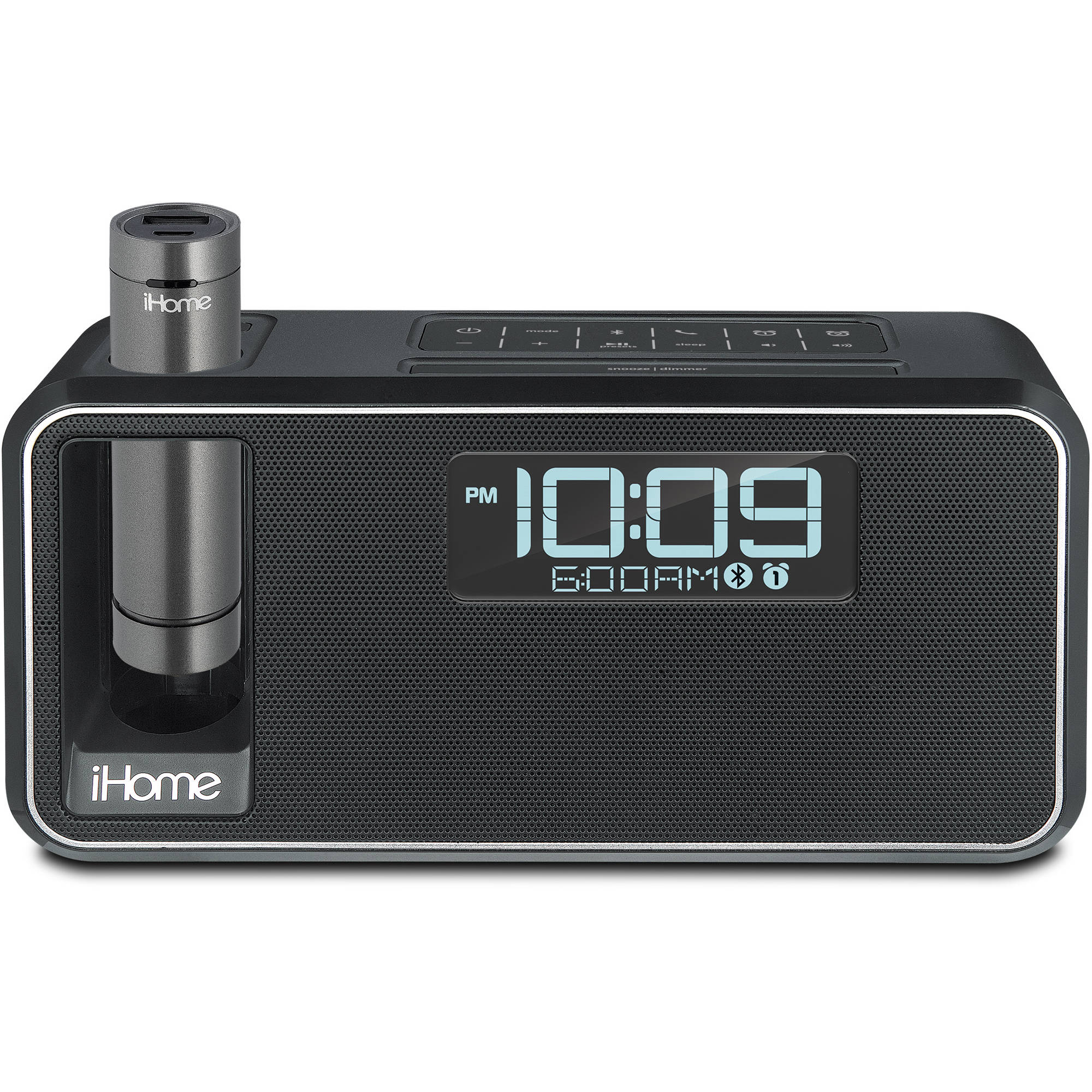 iHome iKN105 Kineta K2 Stereo Alarm Clock with K-CELL Portable Battery Pack