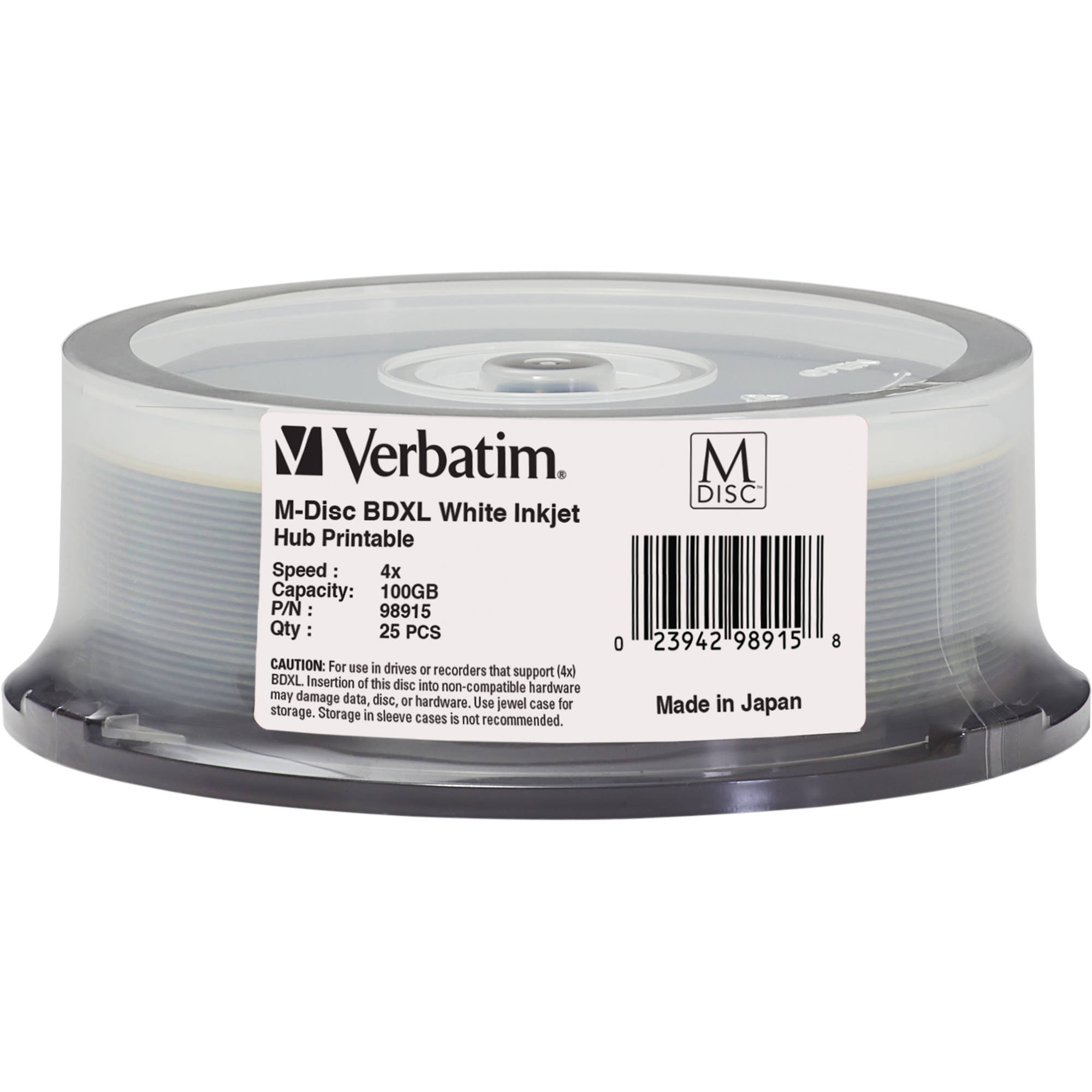 Verbatim M-DISC BDXL 100GB 4x White Inkjet/Hub Printable Disc (25-Pack  Spindle)