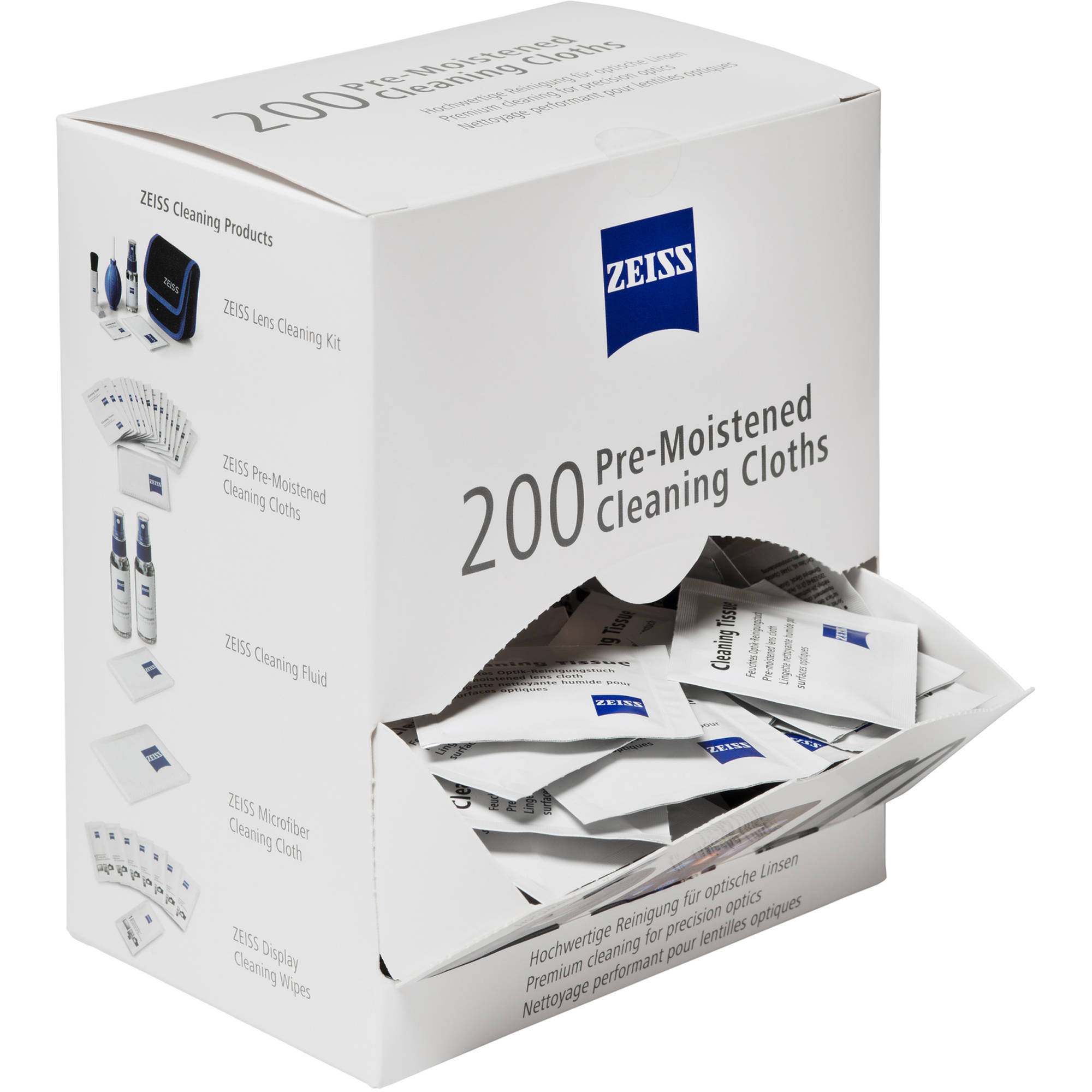 ZEISS Pre-Moistened Cleaning Cloths (Box of 200)