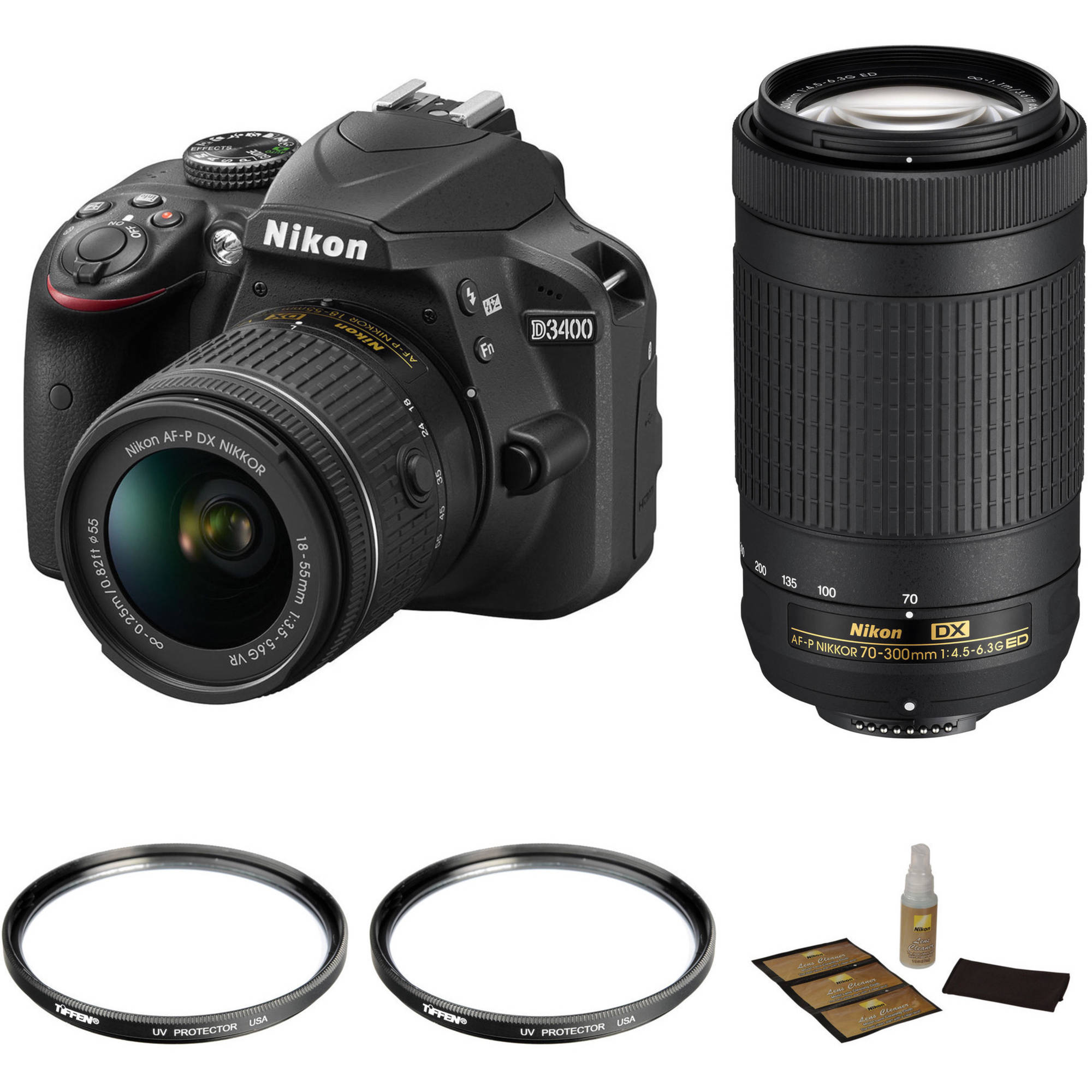 Nikon D3400 with 18-55mm and 70-300mm Lenses Basic Kit