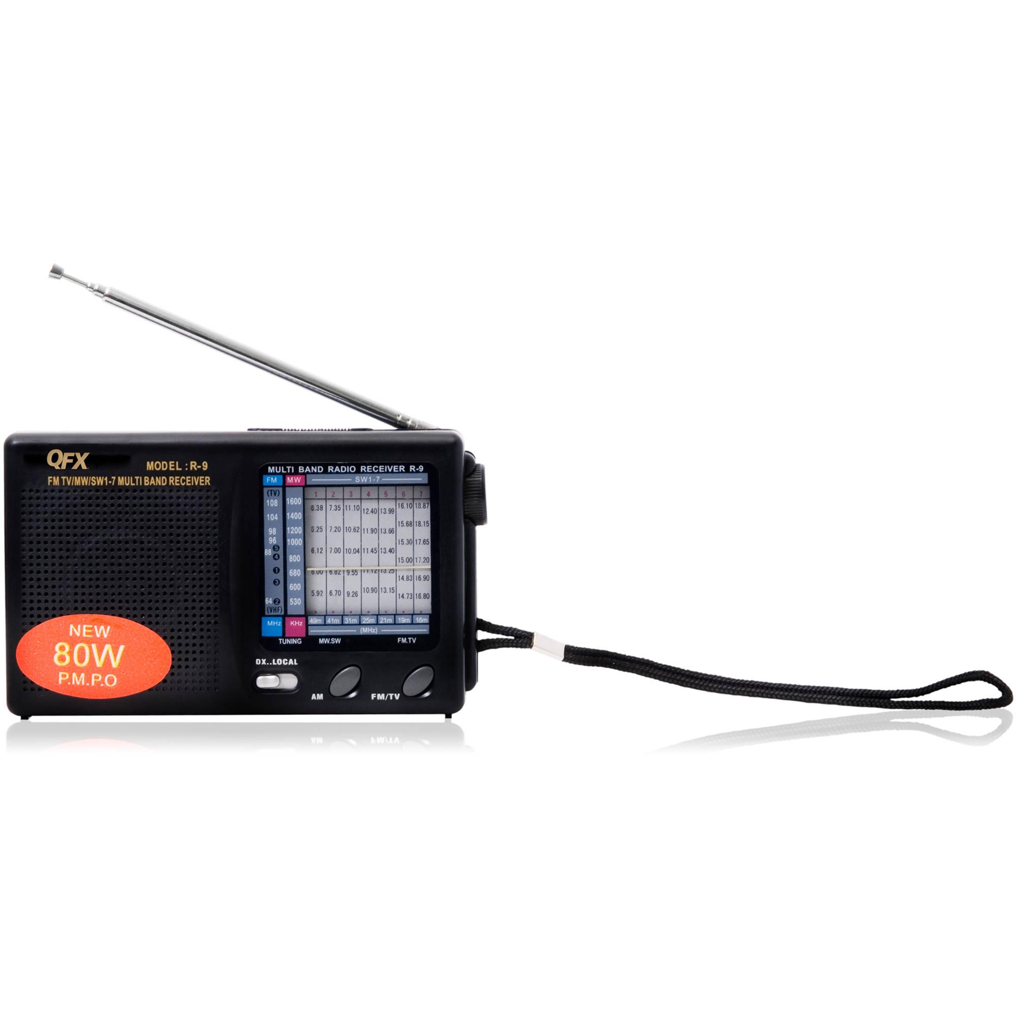 QFX R-9 AM/FM/MW/SW1-7 Pocket Radio (Black)
