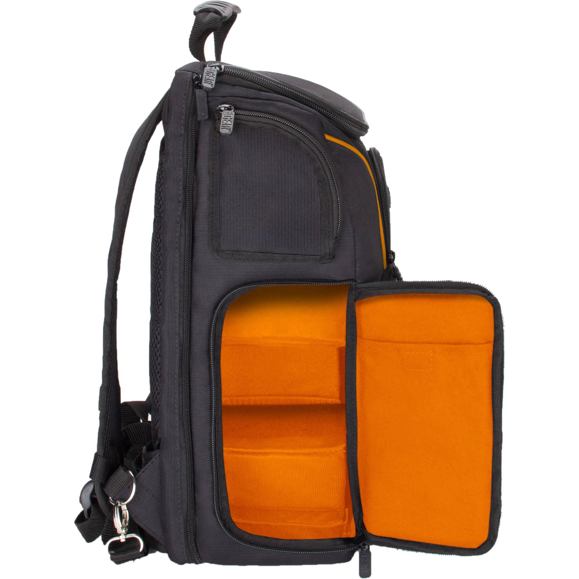 S-ZONE Waterproof Anti-Shock Waxed Canvas SLR DSLR Camera Backpack Large Capacity Camera Case Bag 14 inch Laptop and Tripod Travel Bag Professional Camera Lens