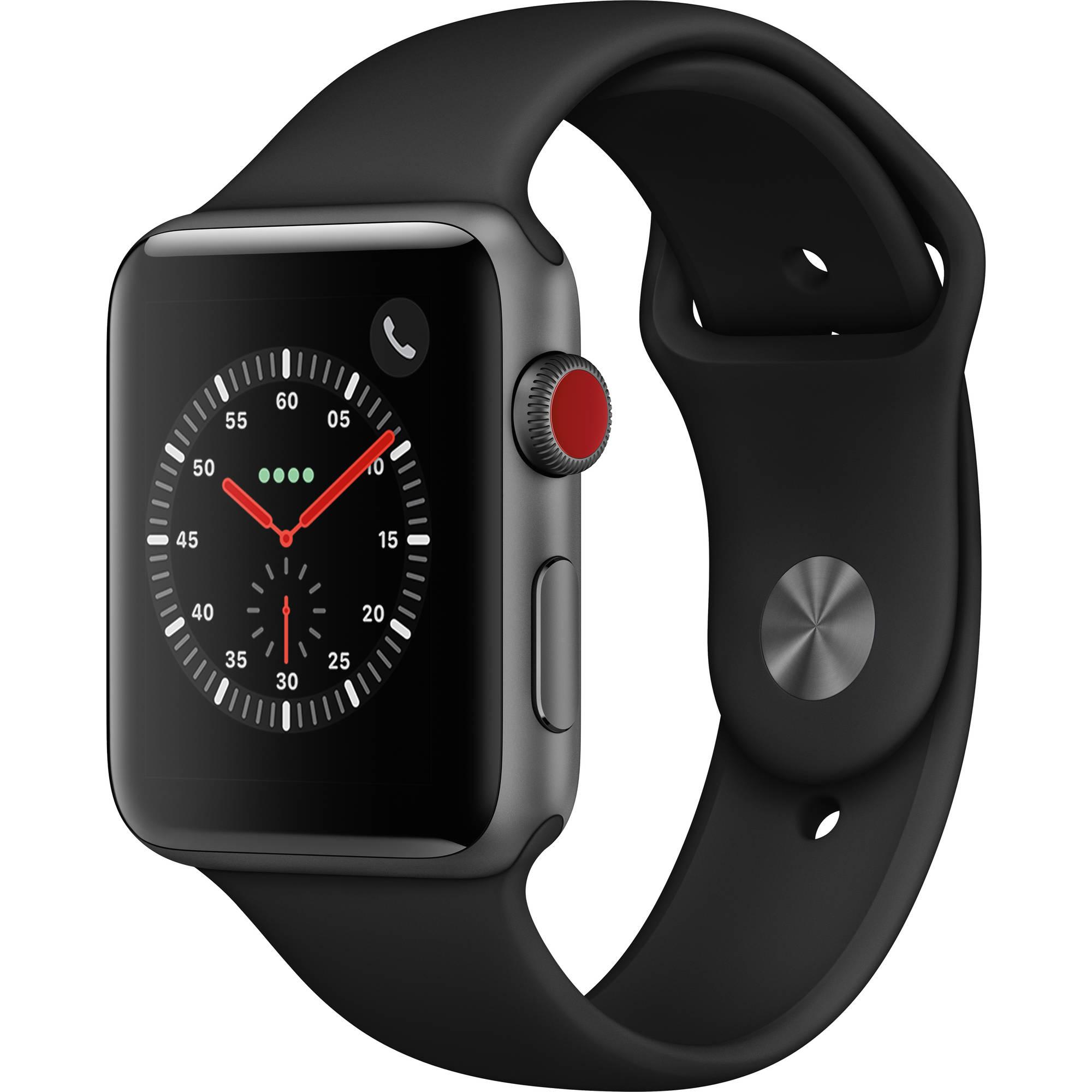 Apple Watch Series 3 42mm Smartwatch (GPS + Cellular, Space Gray Aluminum  Case, Black Sport Band)