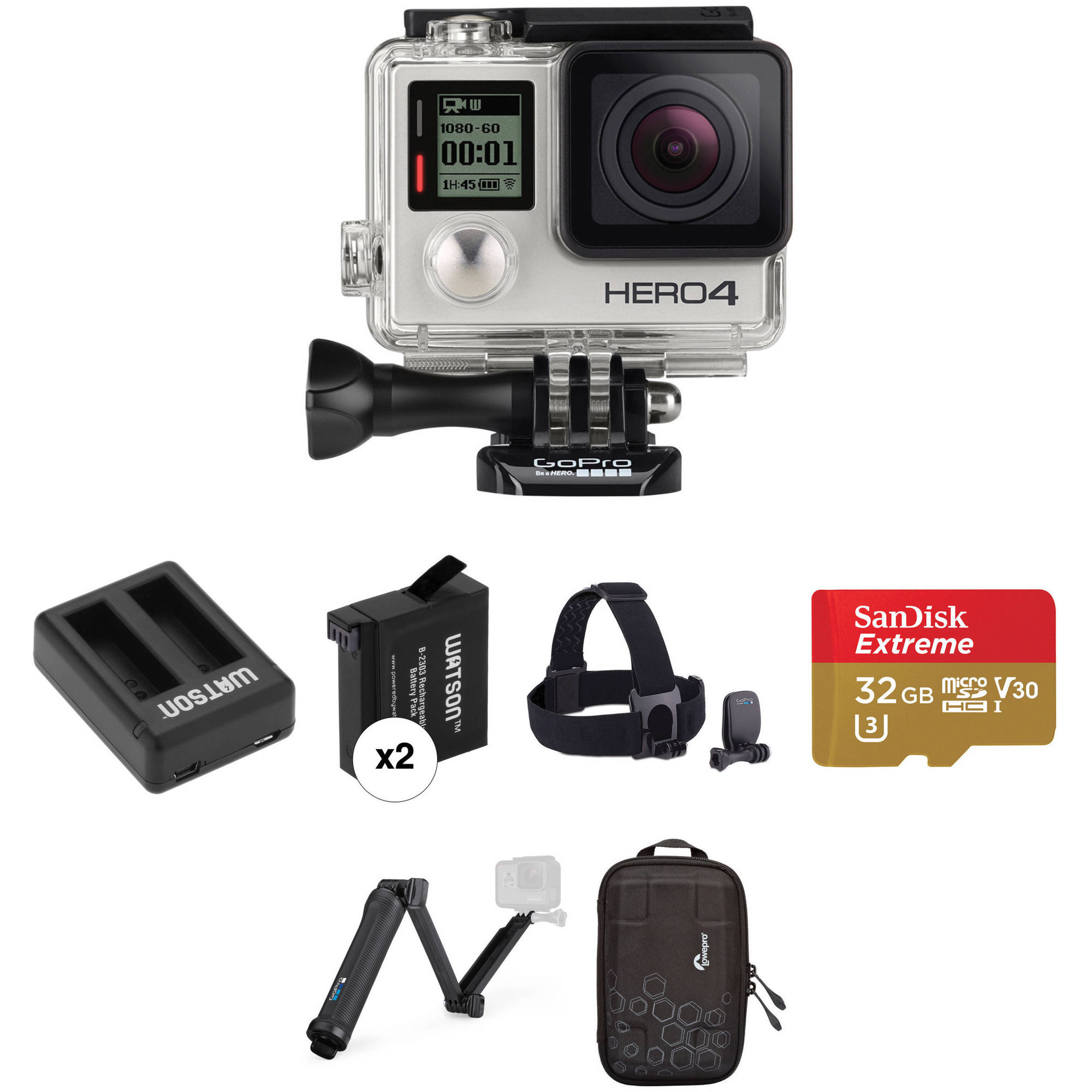 Dual Port Battery /& Charger kit for GoPro Hero4 GoPro Hero 4 Black//Silver Battery Charger