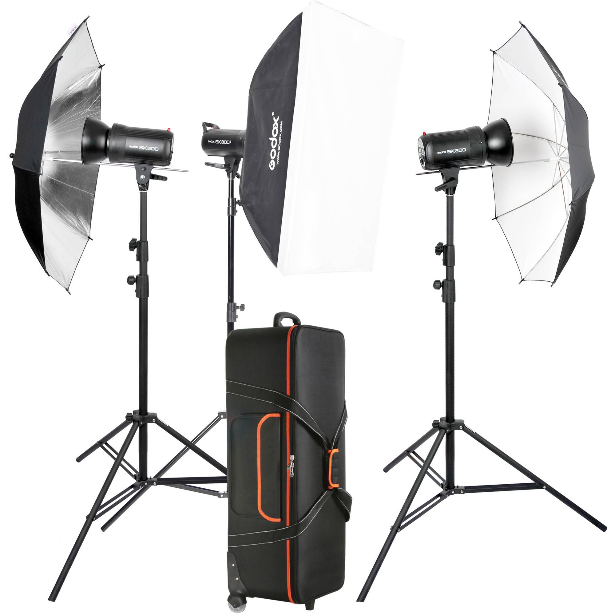 Ox Sk300ii 3 Light Studio Flash Kit