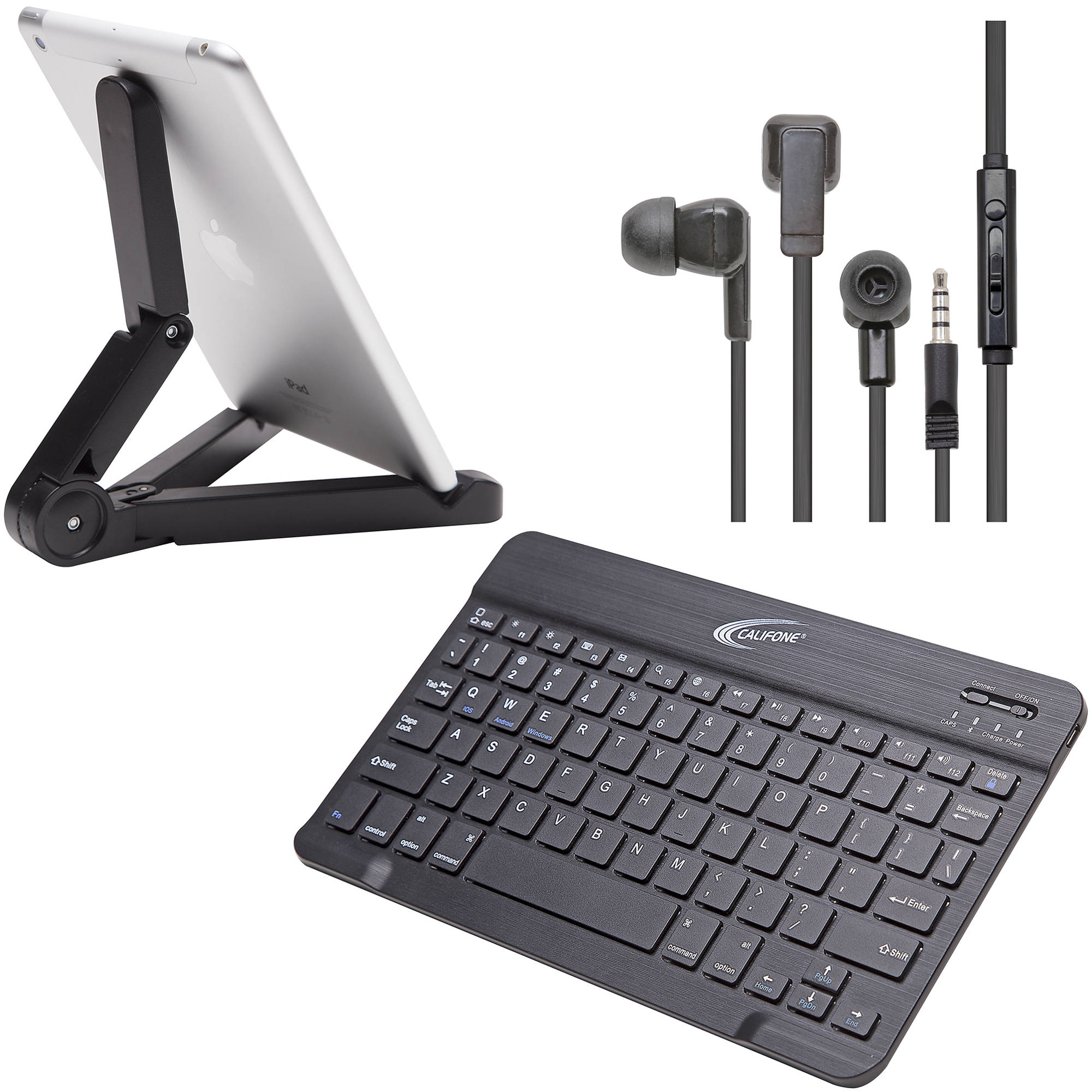 Califone BT Smartphone/Tablet Pack with KB4 Bluetooth Keyboard/E3T  EarBud/Tablet Stand/School-use Warranty