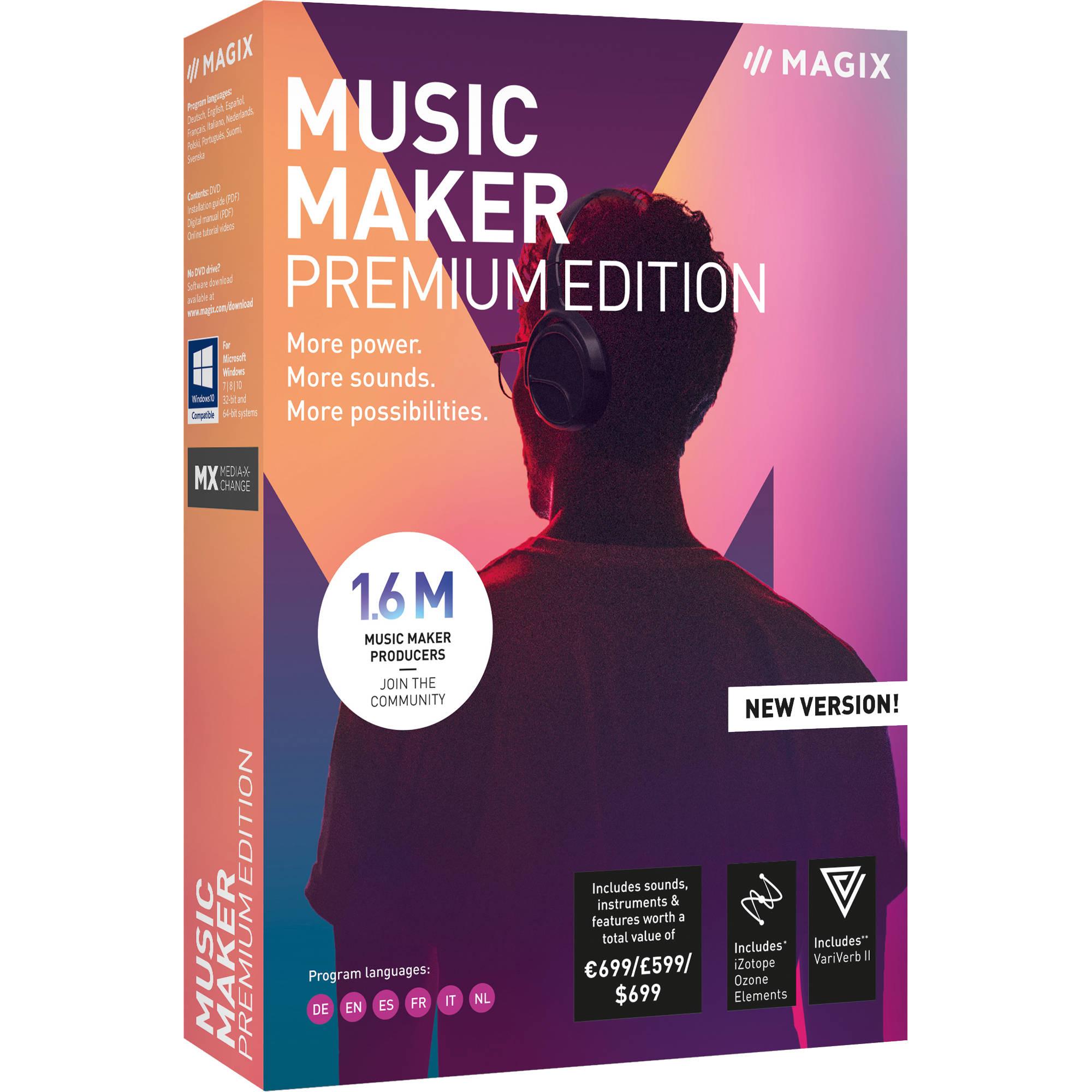 MAGIX Entertainment Music Maker 2019 Premium Edition - Music Production  Software (100+ Tier Site-License, Download)