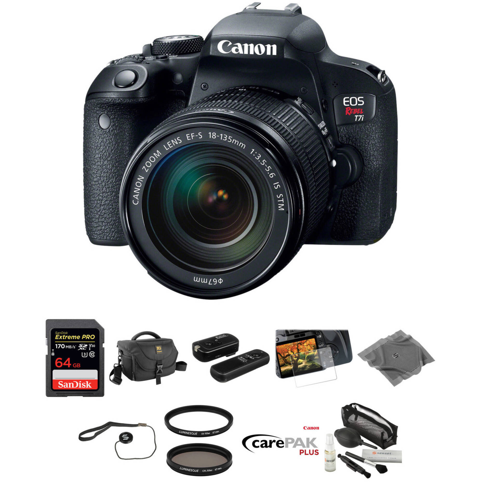 Canon EOS Rebel T7i DSLR Camera with 18-135mm Lens Deluxe Kit