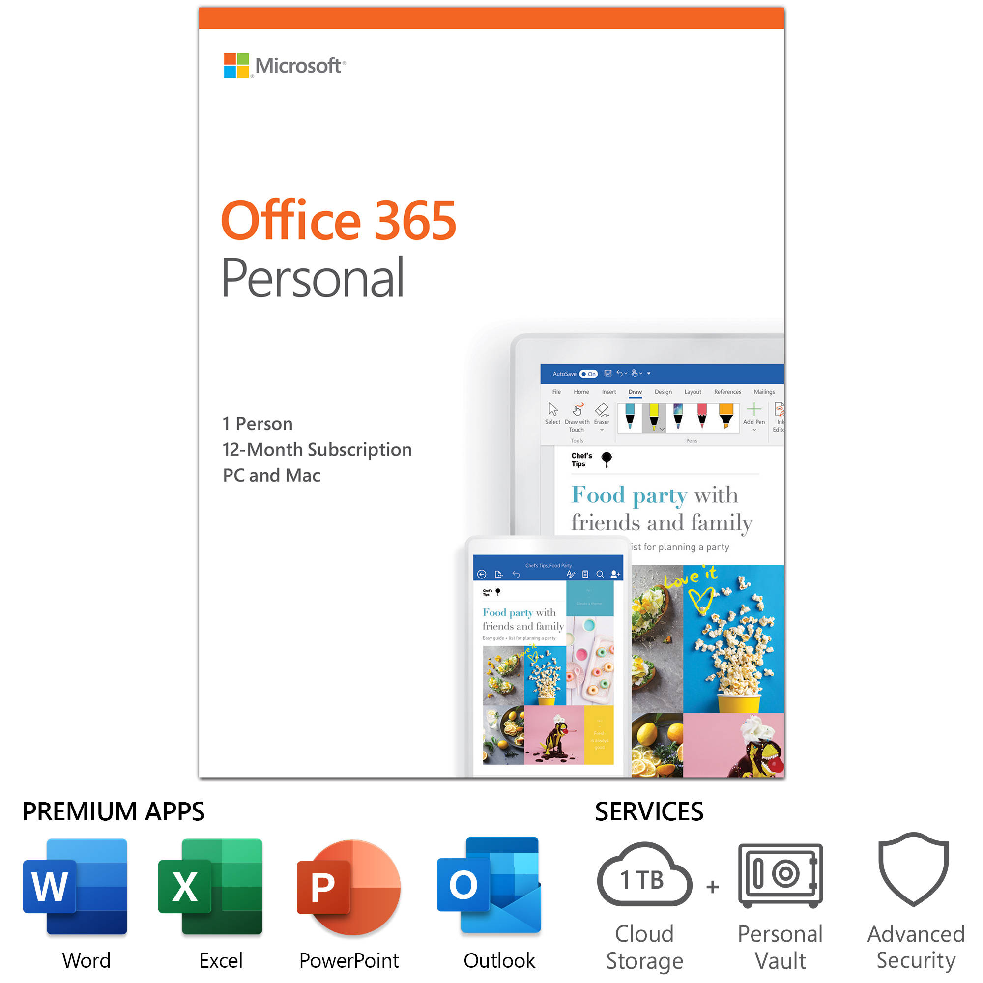 Microsoft Office 365 Personal 1 User License 12 Month Subscription Product Key Code