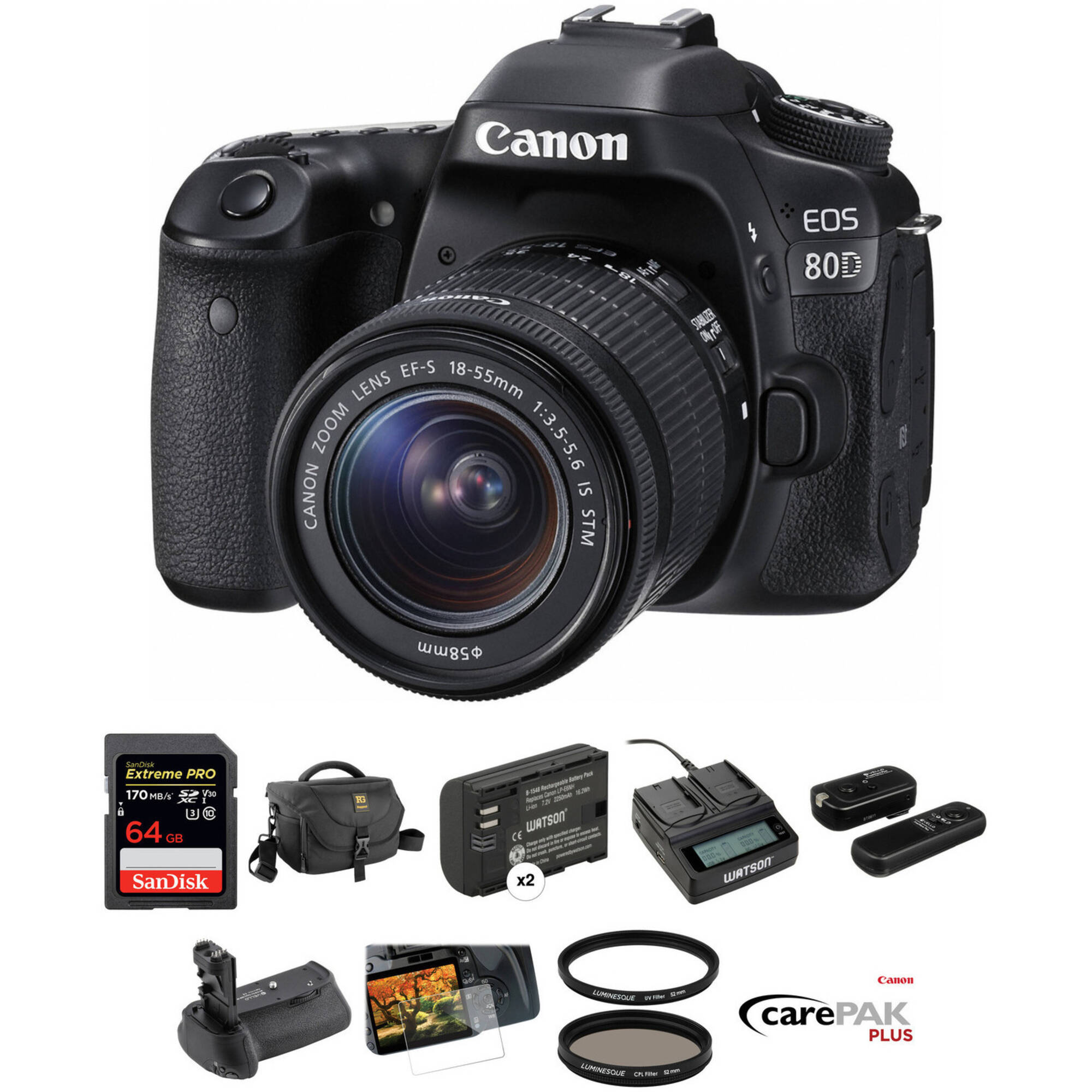 Pro Camera Battery Grip Replacement BG-E14 for Canon EOS 70D /& 80D DSLRs with Replacement Batteries /& Dual USB Charger