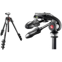 Manfrotto MT190CXPRO4 Carbon Fiber Tripod Kit with MH293D3-Q2 3-Way Photo Head and RC2 Quick-Release System