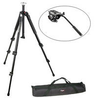Manfrotto MVH500AH Flat Base Fluid Head, 055XB Tripod Legs, Padded Case Kit
