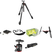 Manfrotto MT190XPRO3 Aluminum Tripod with 498RC2 Midi Ball Head Deluxe Kit