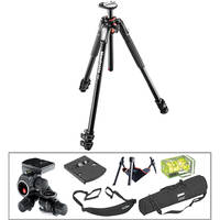 Manfrotto MT190XPRO3 Aluminum Tripod with 410 Junior Geared Head Deluxe Kit