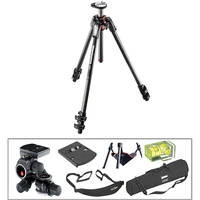 Manfrotto MT190CXPRO3 Carbon Fiber Tripod with 410 Junior Geared Head Deluxe Kit