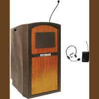 AmpliVox Sound Systems SW3250 Pinnacle Multimedia Lectern with Wireless Headset Microphone (Medium Oak)