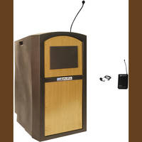 AmpliVox Sound Systems SW3250 Pinnacle Multimedia Lectern with Wireless Lapel Microphone (Maple)