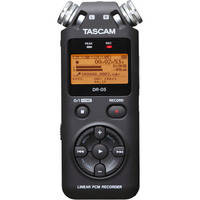 Tascam DR-05 Portable Handheld Digital Audio Recorder + Samson Headphones + Microphone