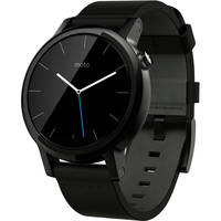 Motorola 2nd Gen Moto 360 42mm Men's Smartwatch (Black with Black Leather Band)