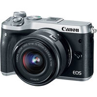 Canon EOS M6 24.2MP Full HD 1080p Wi-Fi Mirrorless Digital Camera with 15-45mm Lens (Silver)