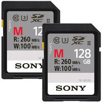 2-Pack Sony M Series 128GB UHS-II / U3 1733x SDXC Memory Card