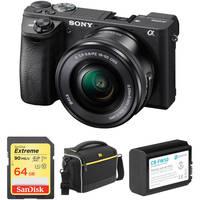 Sony Alpha a6500 24MP Wi-Fi Mirrorless Digital Camera with 16-50mm Lens (Black) + 64GB Memory Card + Bag + 1030mAh Battery Pack