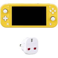 Nintendo Switch Lite Kit (Yellow, European Version) + General Brand Adapter Plug (2-Prong EU to 2-Prong USA)