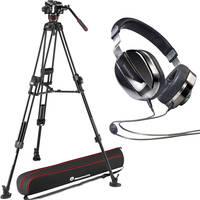Manfrotto 504X Fluid Video Head & MVTTWINGC Carbon Fiber Tripod with Ground Spreader + Ed. M Black Plus Headphones