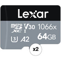 2-Pack Lexar 64GB microSDXC Card with SD Adapter