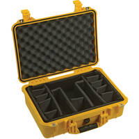 Pelican 1504 Waterproof 1500 Case with Padded Black Dividers (Yellow)
