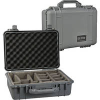 Pelican 1504 Waterproof 1500 Case with Padded Black Dividers (Silver)