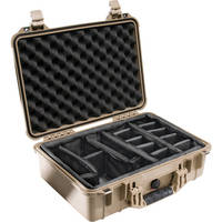 Pelican 1504 Waterproof 1500 Case with Padded Black Dividers (Desert Tan)