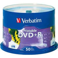 Verbatim DVD+R White Inkjet Printable Recordable Disc (Spindle Pack of 50)