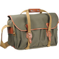 Billingham 555 Shoulder Bag (Sage with Tan Leather and Brass Fittings)