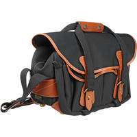 Billingham 225 Shoulder Bag (Black with Tan Leather Trim)