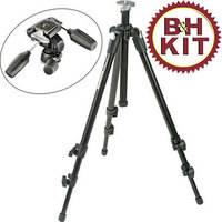 Manfrotto 055XDB Tripod Legs (Black) with 804RC2 3-Way Pan/Tilt Head