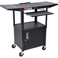 Luxor AVJ42KBCDL  Adjustable Height Computer Workstation and Presentation Center (Drop Leaf Shelf, Storage Cabinet and Keyboard Shelf, Black)