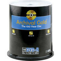 Delkin Devices DVD-R Archival Gold, Scratch Armor Recordable Disc (Spindle Pack of 100)