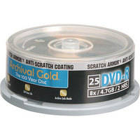 Delkin Devices DVD-R Archival Gold 'Scratch Armor' Recordable Disc (Spindle Pack of 25)