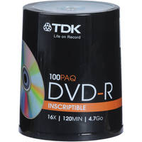 100-Pack 48520 TDK 4.7GB 16X DVD-R Blank Disc Spindle