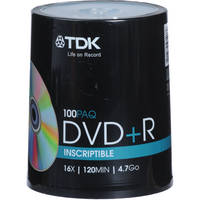 TDK DVD+R 4.7GB Recordable Discs (Spindle Pack of 100)