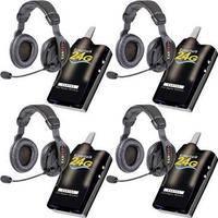 Eartec 4 Simultalk 24G Beltpacks with ProLine Double Headsets