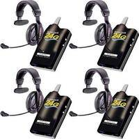 Eartec 4 Simultalk 24G Beltpacks with ProLine Single Headsets