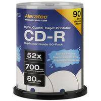 Aleratec CD-R HydroGuard Inkjet Hub Printable Recordable Disc (Spindle Pack of 90)