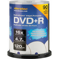 Aleratec DVD+R HydroGuard Inkjet Hub Printable Recordable Disc (Spindle Pack of 90)