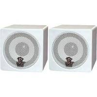 "Pyle Pro PCB3 100W 3"" Mini Cube Speaker (Pair, White)"