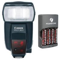 Canon 580EX II Speedlite E-TTL II Shoe Mount Flash with 4x AA NiMH Batteries & Charger Kit