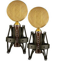 Cascade Microphones Fat Head Ribbon Microphone Pair with Blumlein Bar (Brown/Gold)